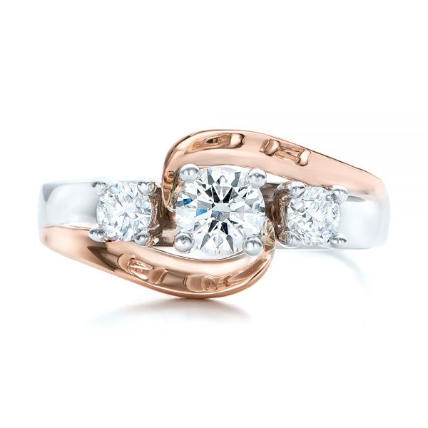 Custom Two-Tone Diamond Engagement Ring - Top View -  101992 - Thumbnail