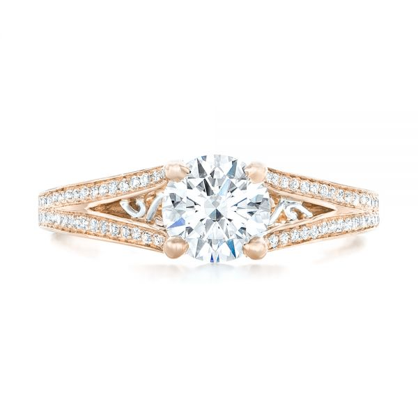 14k Rose Gold And 14K Gold 14k Rose Gold And 14K Gold Custom Two-tone Diamond Engagement Ring - Top View -