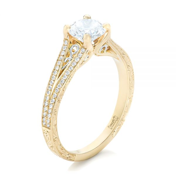 14k Yellow Gold And 14K Gold Custom Two-tone Diamond Engagement Ring - Three-Quarter View -