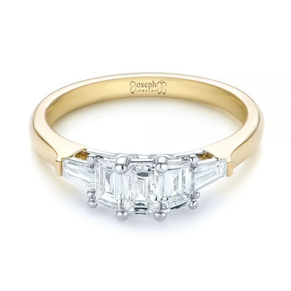 14k Yellow Gold And 14K Gold Custom Two-tone Diamond Engagement Ring - Flat View -  103505