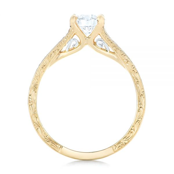 14k Yellow Gold And Platinum 14k Yellow Gold And Platinum Custom Two-tone Diamond Engagement Ring - Front View -