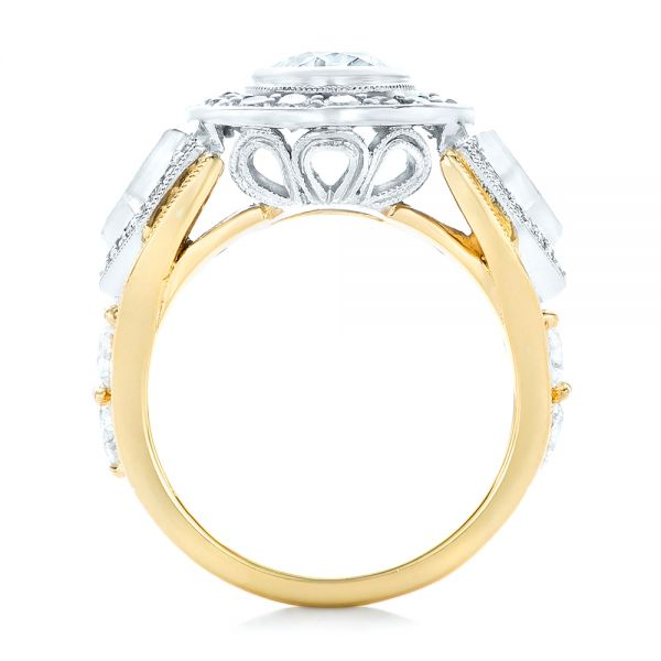 18k Yellow Gold And Platinum Custom Two-tone Diamond Engagement Ring - Front View -