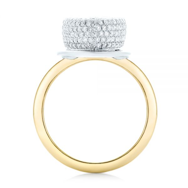 18K Gold And 18k Yellow Gold Custom Two-tone Diamond Engagement Ring - Front View -
