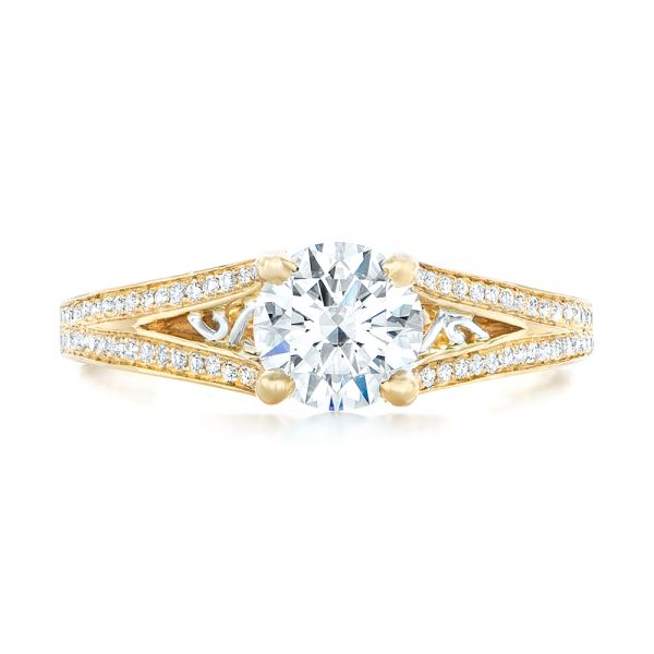 14k Yellow Gold And Platinum 14k Yellow Gold And Platinum Custom Two-tone Diamond Engagement Ring - Top View -