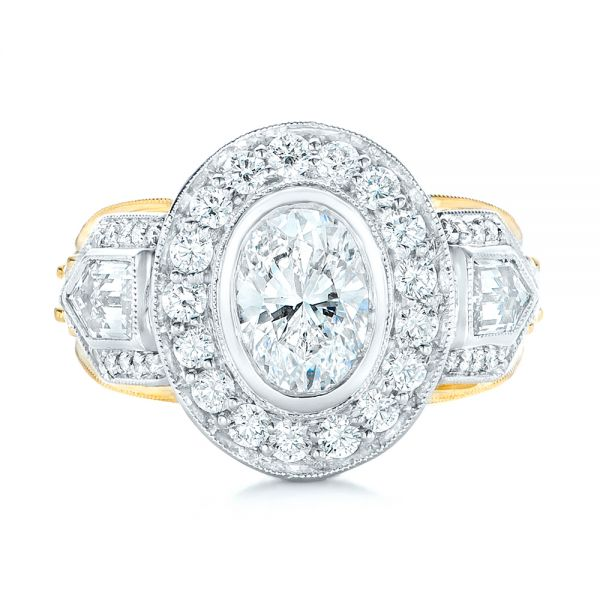 18k Yellow Gold And Platinum Custom Two-tone Diamond Engagement Ring - Top View -