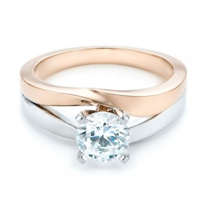 Custom Two-Tone Diamond Engagement Ring