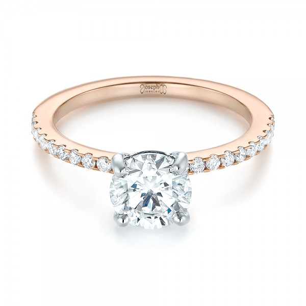 14k Rose Gold And 14K Gold Custom Two-tone Diamond Engagement Ring - Flat View -