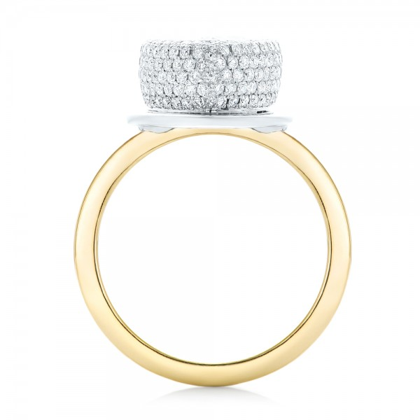 Custom Two-Tone Diamond Engagement Ring - Finger Through View