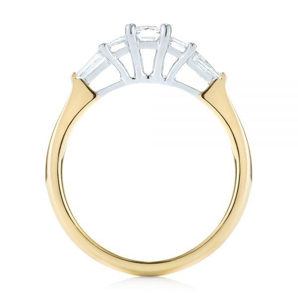 Custom Two-Tone Diamond Engagement Ring - Finger Through View
