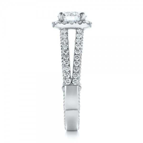 Custom Two-Tone Diamond Engagement Ring - Side View