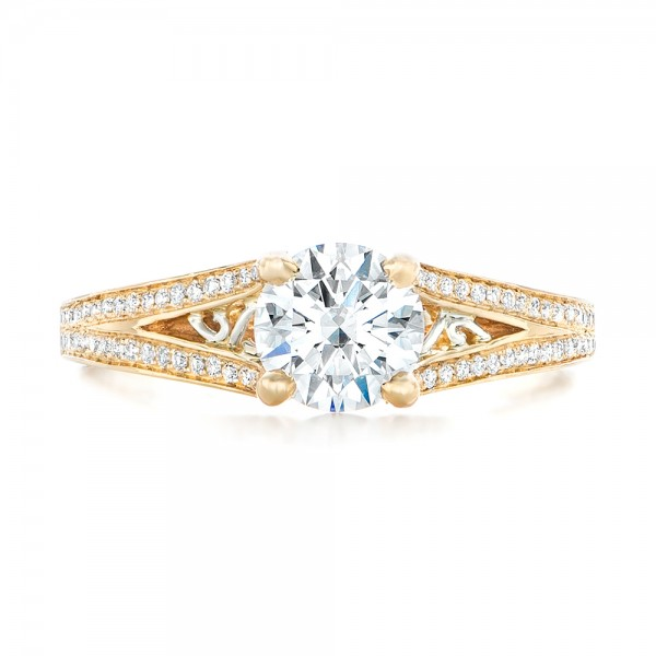 Custom Two-Tone Diamond Engagement Ring - Top View