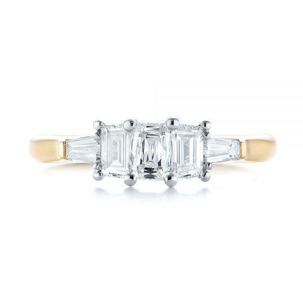 Custom Two-Tone Diamond Engagement Ring - Top View