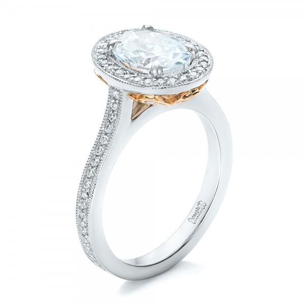 Custom Two-Tone Diamond Halo Engagement Ring - 3/4 View