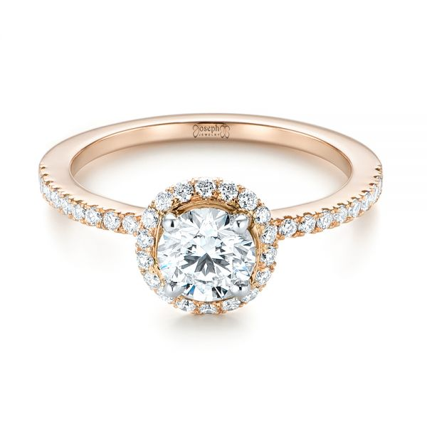 14k Rose Gold And 14K Gold Custom Two-tone Diamond Halo Engagement Ring - Flat View -