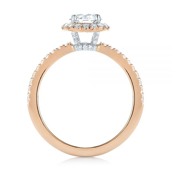 14k Rose Gold And 14K Gold Custom Two-tone Diamond Halo Engagement Ring - Front View -
