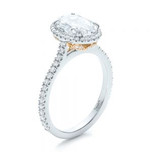 Custom Two-Tone Diamond Halo Engagement Ring - Image