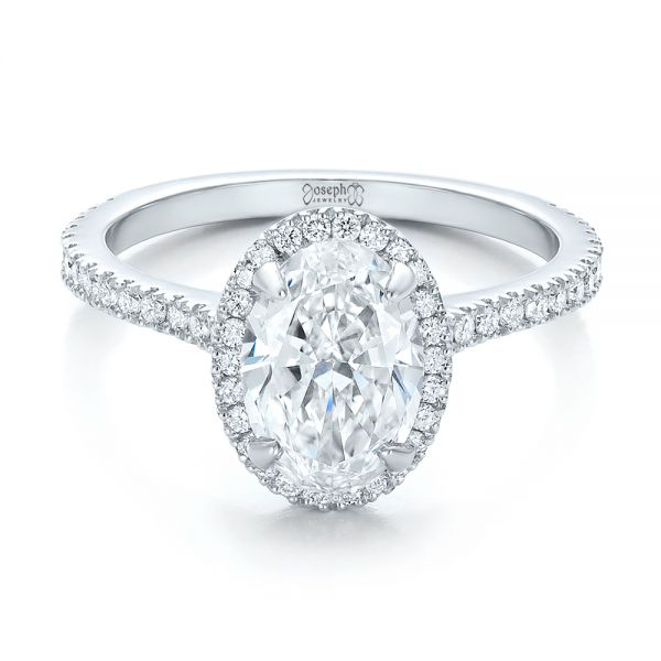 Custom Two-Tone Diamond Halo Engagement Ring - Flat View -  100572 - Thumbnail