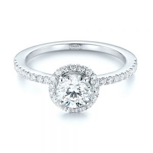 Custom Two-Tone Diamond Halo Engagement Ring