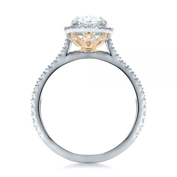 Custom Two-Tone Diamond Halo Engagement Ring - Front View -  100572 - Thumbnail