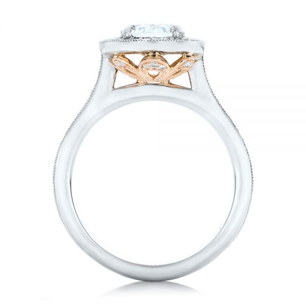 Platinum And 14K Gold Custom Two-tone Diamond Halo Engagement Ring - Front View -