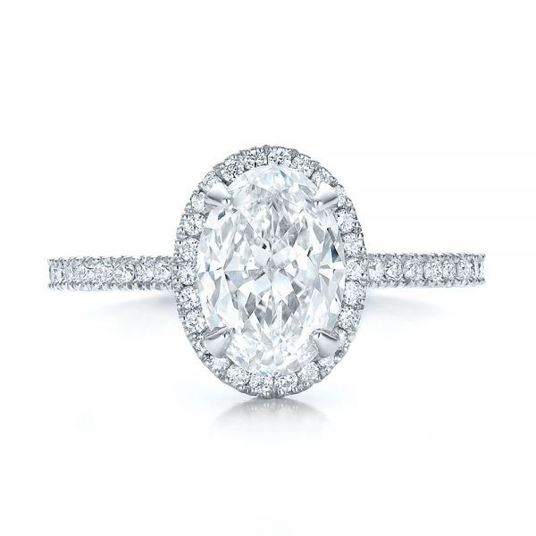 Custom Two-Tone Diamond Halo Engagement Ring - Top View -  100572 - Thumbnail