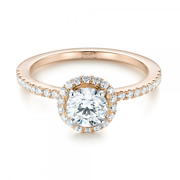 Custom Two-Tone Diamond Halo Engagement Ring - Laying View