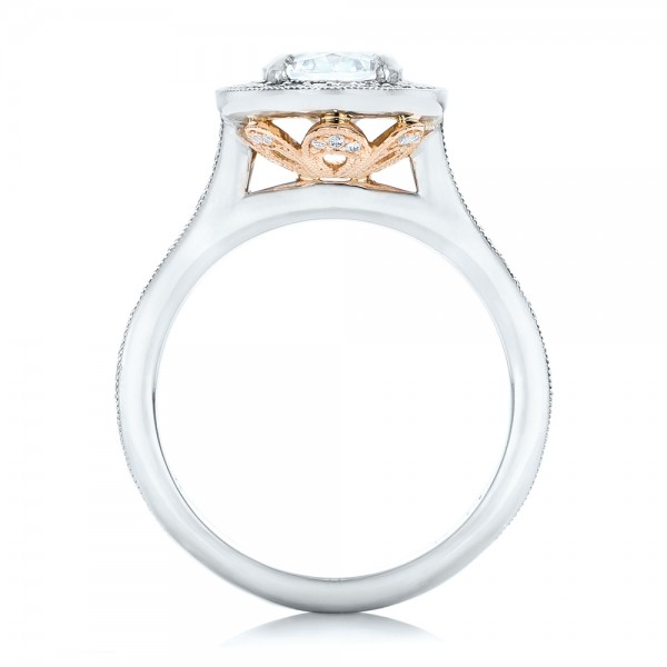 Custom Two-Tone Diamond Halo Engagement Ring - Finger Through View