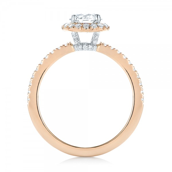Custom Two-Tone Diamond Halo Engagement Ring - Finger Through View