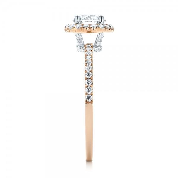 Custom Two-Tone Diamond Halo Engagement Ring - Side View
