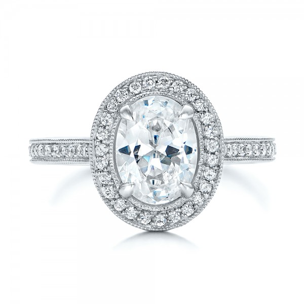 Custom Two-Tone Diamond Halo Engagement Ring - Top View