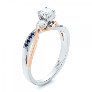Custom Two-Tone Diamond and Blue Sapphire Engagement Ring