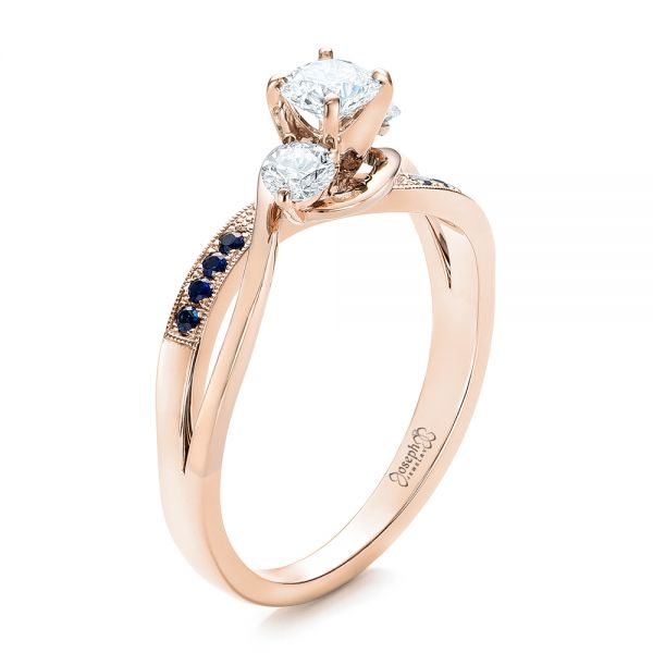 Custom Two-Tone Diamond and Blue Sapphire Engagement Ring - Image
