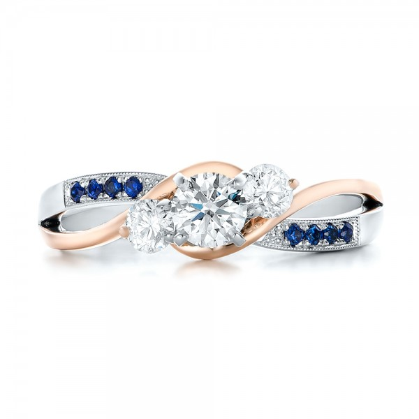 Custom Two-Tone Diamond and Blue Sapphire Engagement Ring - Top View
