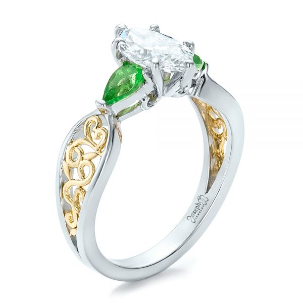 Custom Two-Tone Diamond and Peridot Engagement Ring - Image