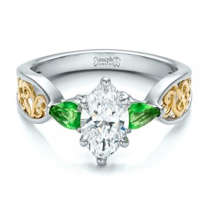 Custom Two-Tone Diamond and Peridot Engagement Ring