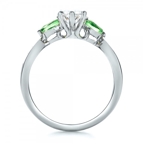 Custom Two-Tone Diamond and Peridot Engagement Ring - Finger Through View