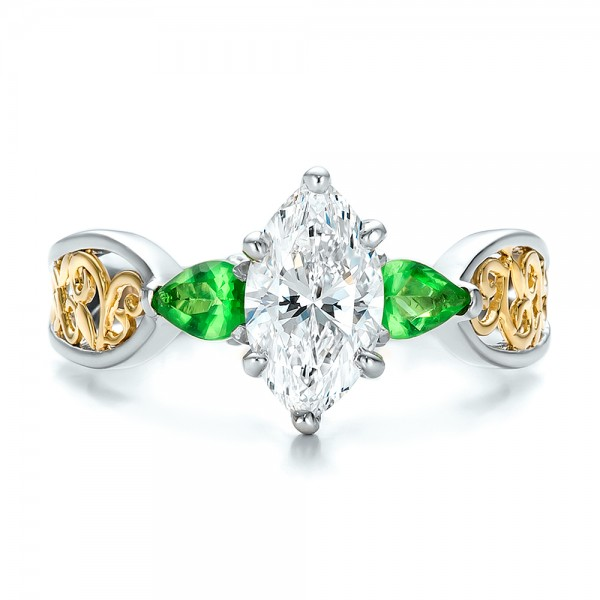 Custom Two-Tone Diamond and Peridot Engagement Ring - Top View