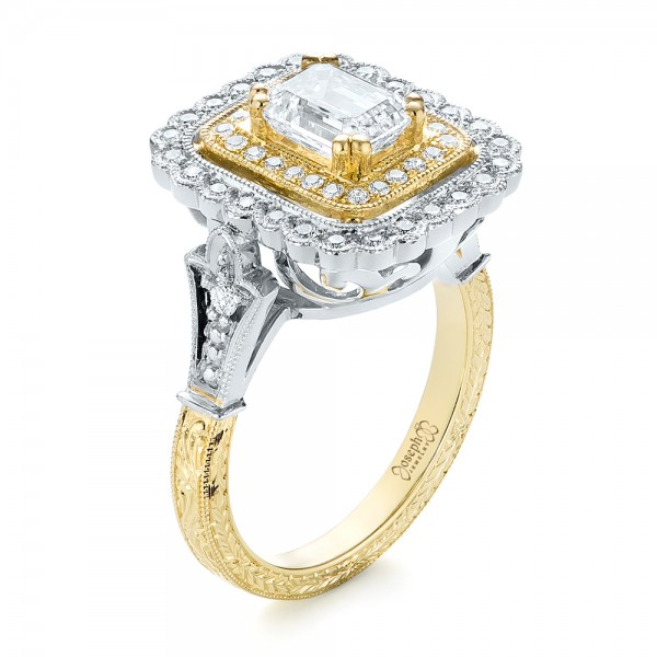 Custom Two-Tone Double Halo Diamond Engagement Ring