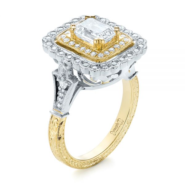 Custom Two-Tone Double Halo Diamond Engagement Ring - Image