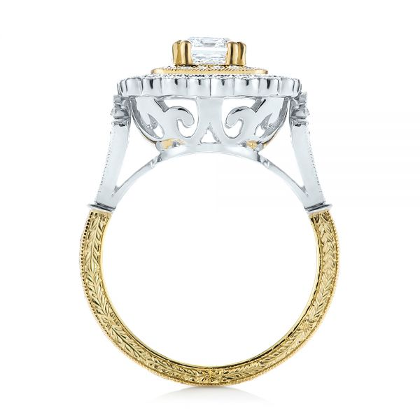 Custom Two-Tone Double Halo Diamond Engagement Ring - Front View -  103455 - Thumbnail