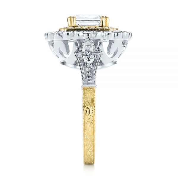 Custom Two-Tone Double Halo Diamond Engagement Ring - Side View -  103455 - Thumbnail