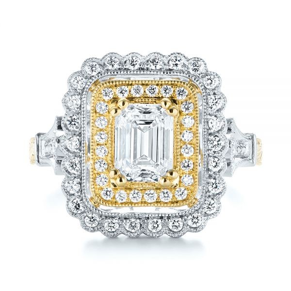 Custom Two-Tone Double Halo Diamond Engagement Ring - Top View -  103455 - Thumbnail