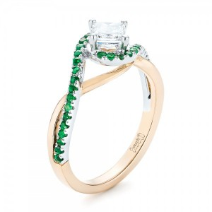 Custom Two-Tone Emerald and Diamond Engagement Ring