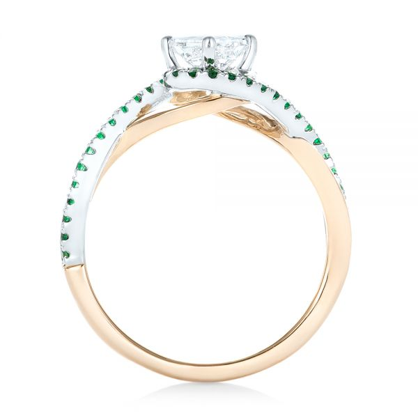 14k Rose Gold And 14K Gold Custom Two-tone Emerald And Diamond Engagement Ring - Front View -