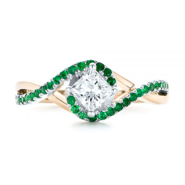 14k Rose Gold And 14K Gold Custom Two-tone Emerald And Diamond Engagement Ring - Top View -