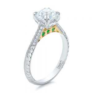 Custom Two-Tone Emerald and Diamond Engagement Ring - Image
