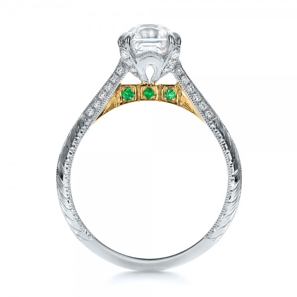 custom two tone emerald and engagement ring 100530