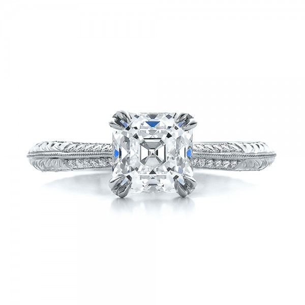 Custom Two-Tone Emerald and Diamond Engagement Ring - Top View