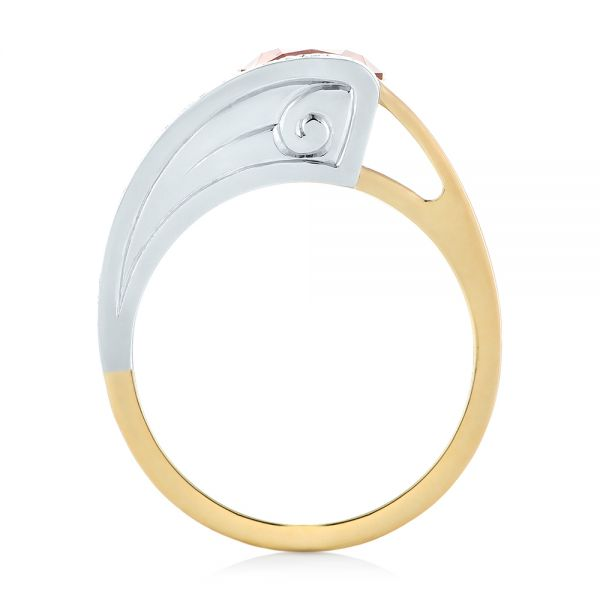 18k Yellow Gold And Platinum Custom Two-tone Garnet And Diamond Ring - Front View -