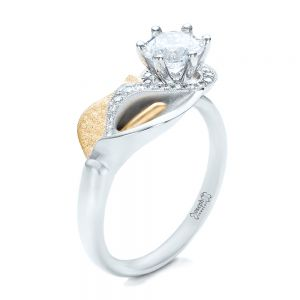 Custom Two-Tone Gold Calla Lilly Engagement Ring - Image